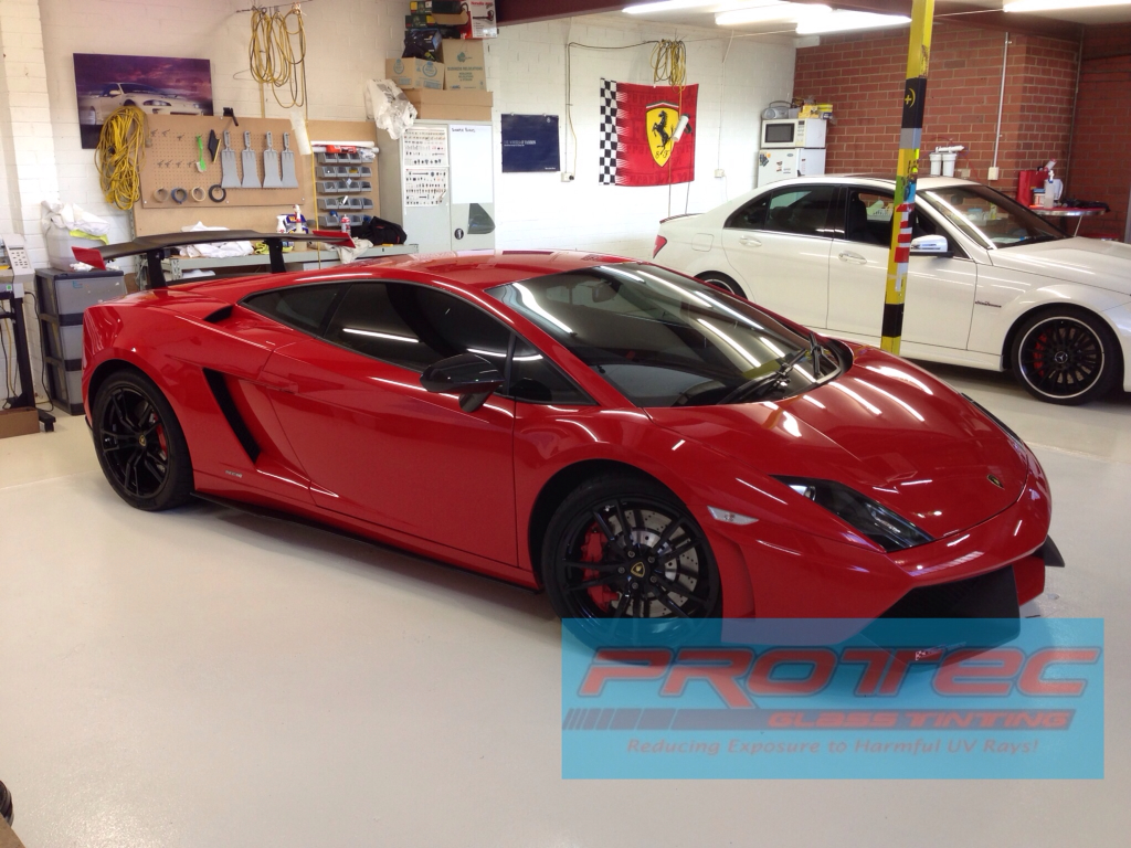 Protec Glass Tinting Gallardo Wrapped With 3m Matte Black And