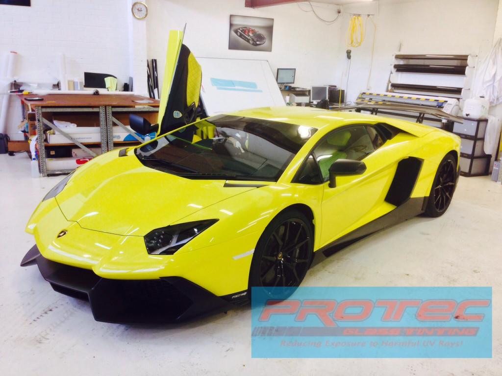 Car Tint installed on Aventador in Perth