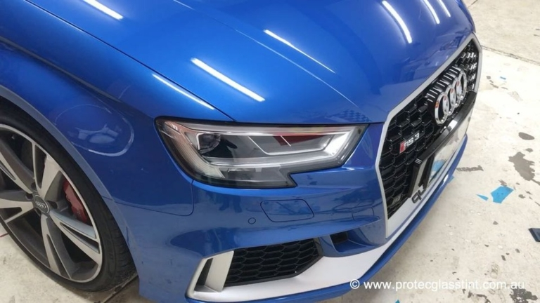 Paint Protection Film, front of Audi RS3 wrapped